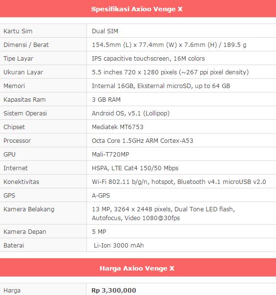 Spesifikasi dan Harga Axioo Venge X