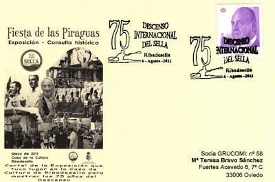 Tarjeta del matasellos del 75 Descenso Internacional del Sella. Piraguas 2011