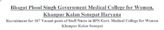 BPS Government Medical College Staff Nurse Previous Question Papers