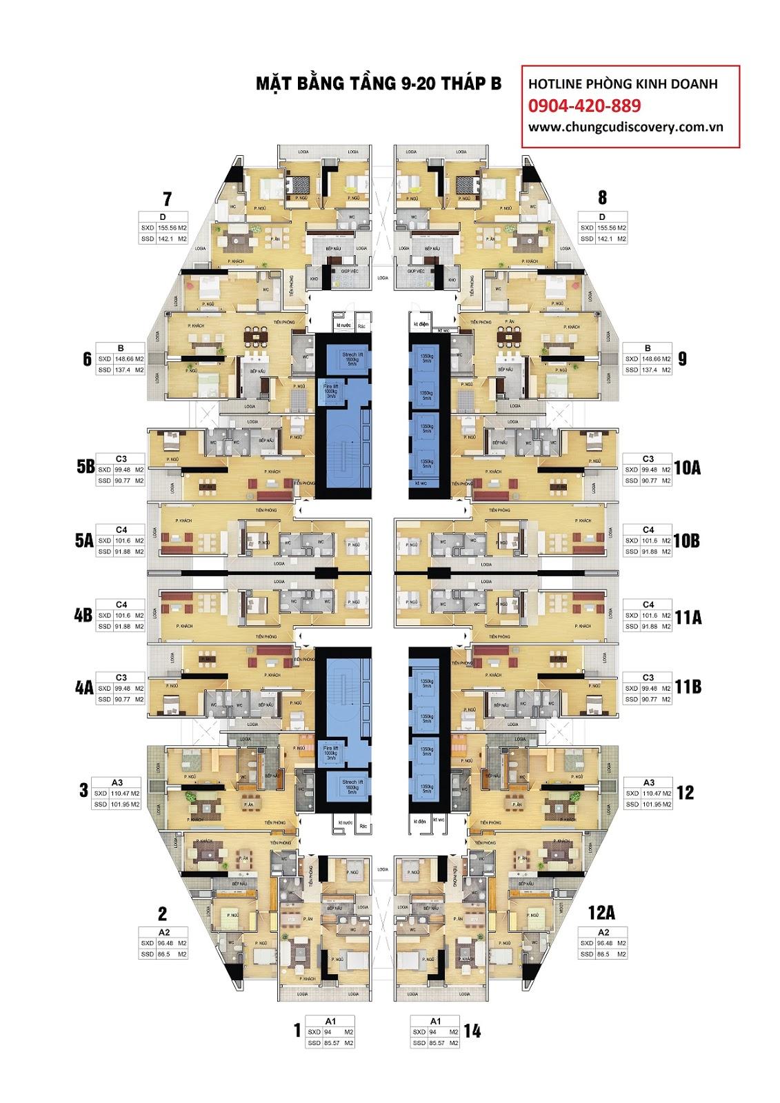Mặt bằng căn hộ Discovery Complex 302 Cầu Giấy từ tầng 9 đến 20