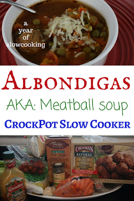 Albondigas is a traditional Mexican meatball soup that has a tiny touch of mint in the broth. You'd be surprised at how this bit of mint really wakes up the rest of the seasonings! You can use homemade or storebought meatballs. This is made in the crockpot slow cooker and is from ayearofslowcooking.com