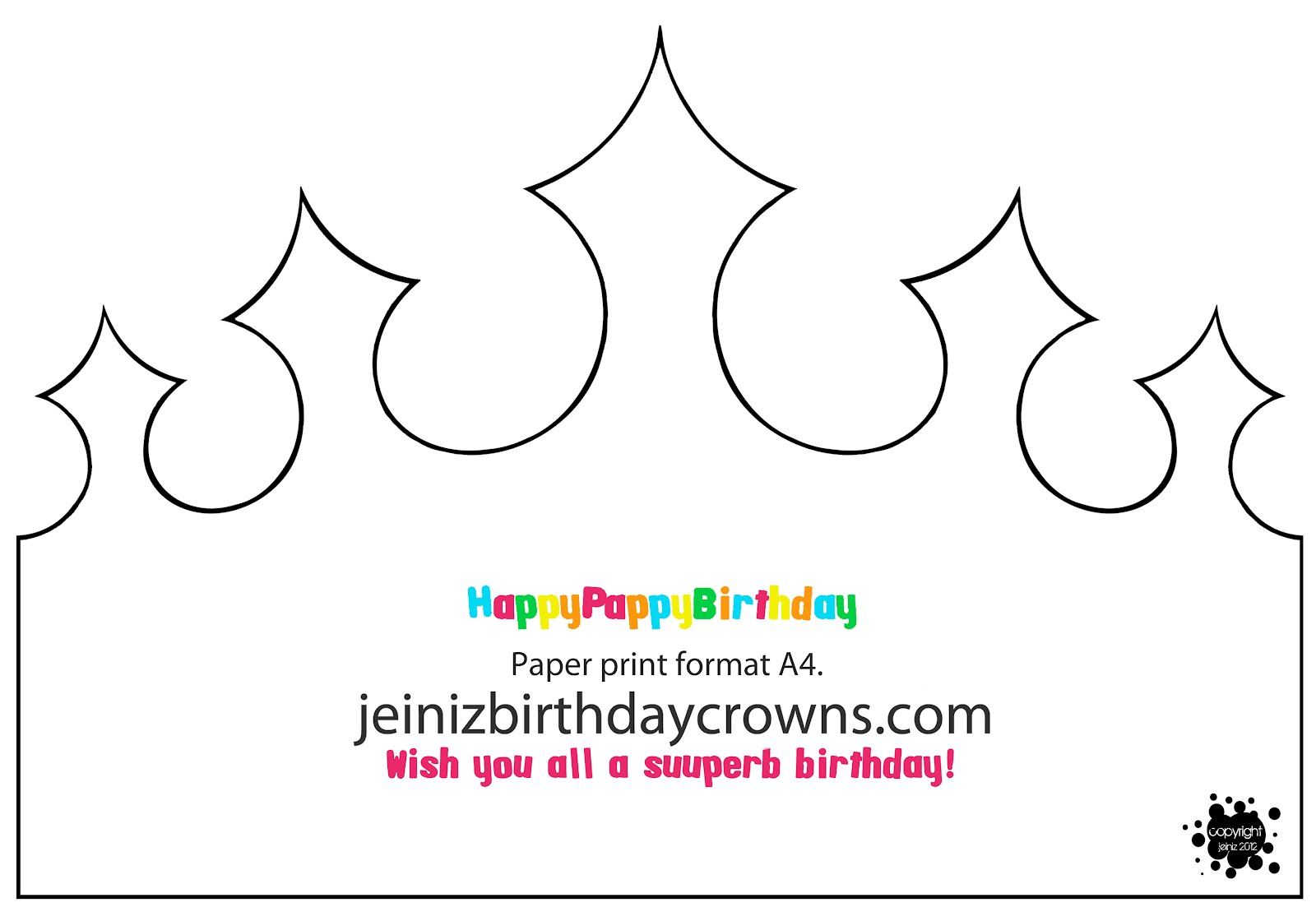 happy birthday crown template happypappybirthday