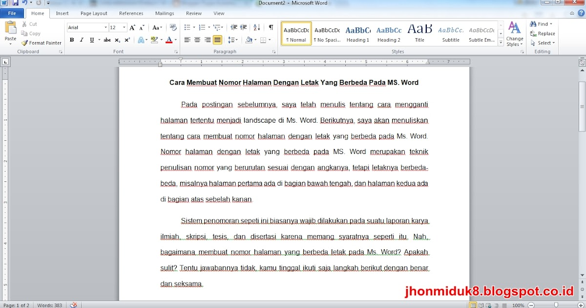 Cara Membuat Nomor Halaman Dengan Letak Yang Berbeda Pada Ms Word Tugas Kuliahku