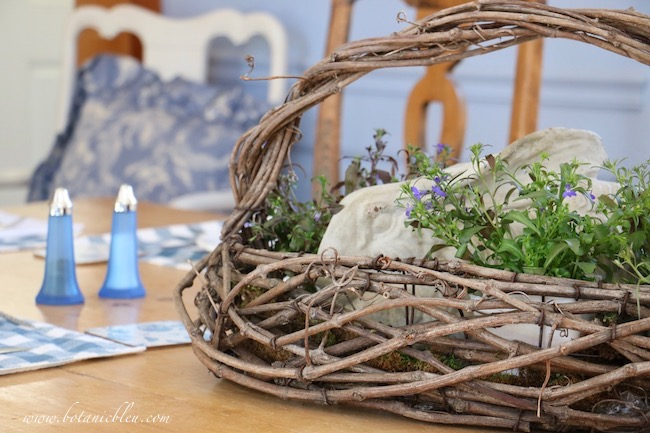 Easy to create French Country floral bunny basket centerpiece