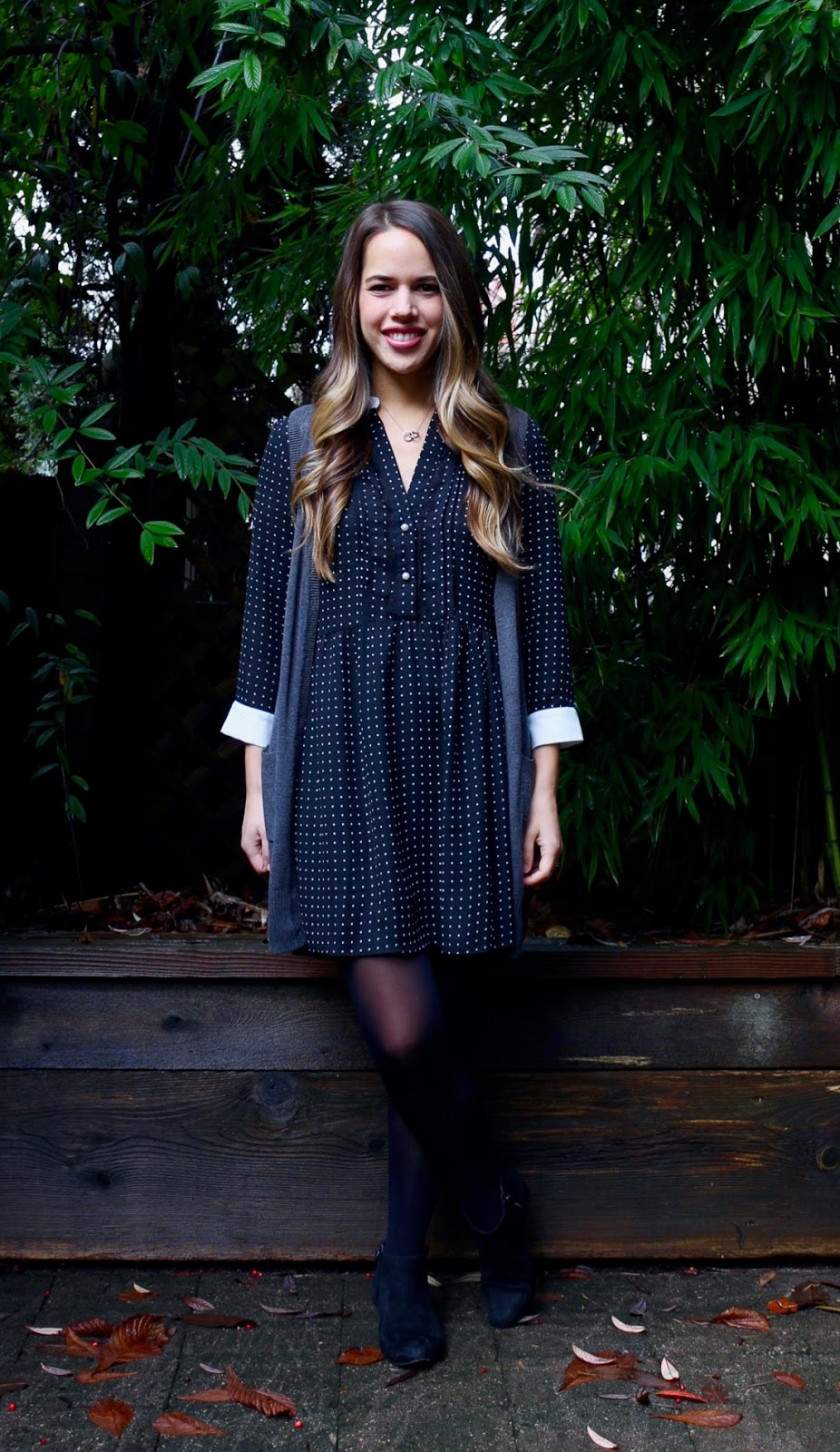 Jules in Flats - Zara Polka Dot Dress + Sweater Vest (Business Casual Fall Workwear on a Budget)