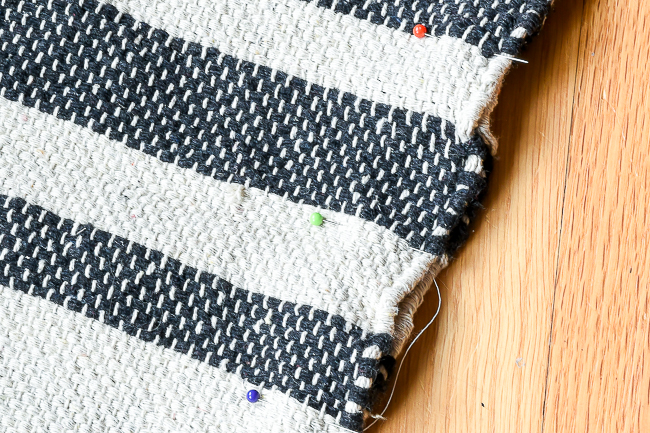 turn right sides together and pin rug