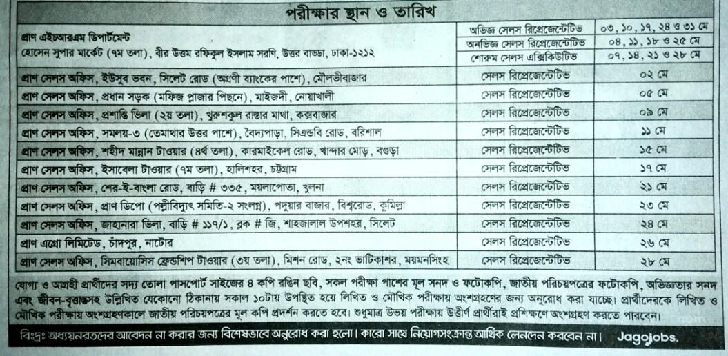 Pran Company new job circular 2019. প্রান কোম্পানি নিয়োগ বিজ্ঞপ্তি ২০১৯ এইচ এস সি/ স্নাতক পাসে