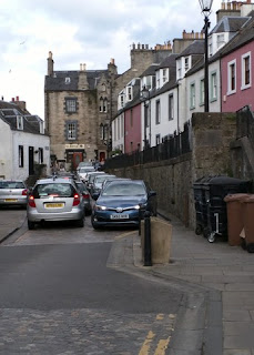 Traffic jam on narrow main street, South Queensferry, Scotland