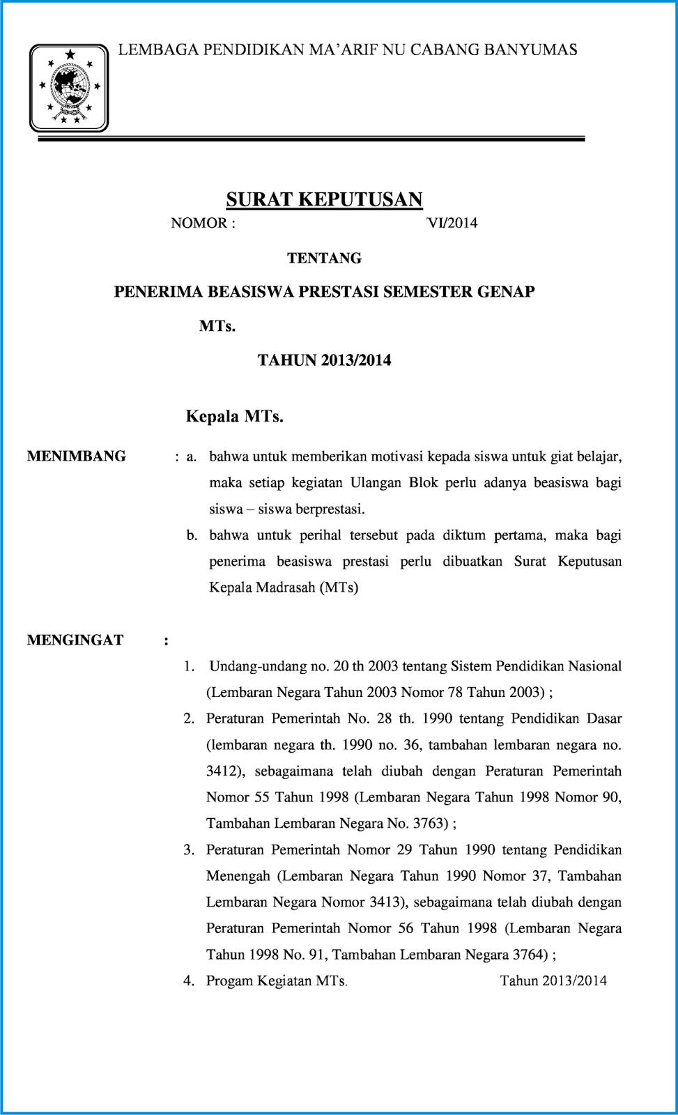 Surat Keputusan Beasiswa Prestasi Bangnidd File