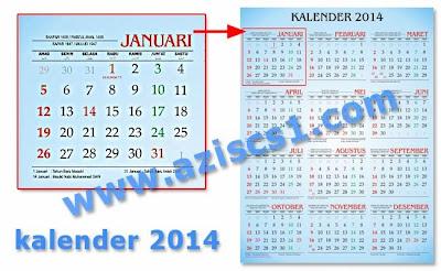 Download Gratis Template desain kalender 2014 Full setahun