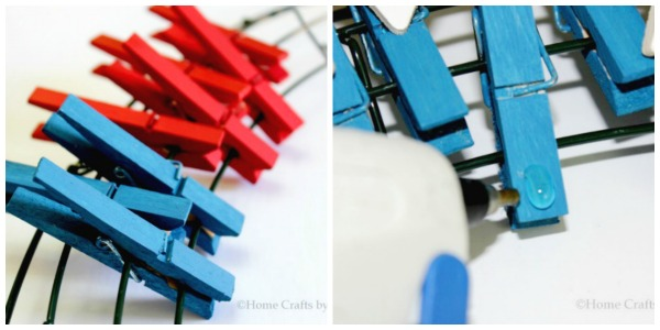 4th of July wreath DIY tutorial clothespin patriotic red white blue arranging