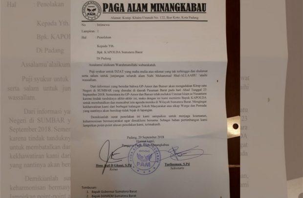 Masyarakat Minangkabau Turut Menolak Kirab Satu Negeri GP Ansor