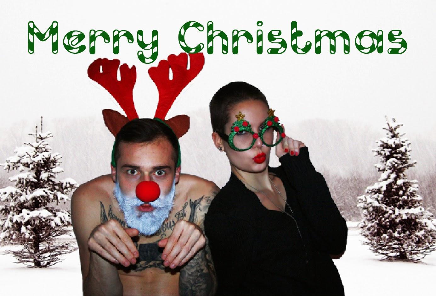 lustige Weihnachtskarte Weihnachten Grüße Blogger Wichteln Gadgets Glitzerbrille Rentierohren Rentiernase Mac Lippenstift Weihnachtenbrille