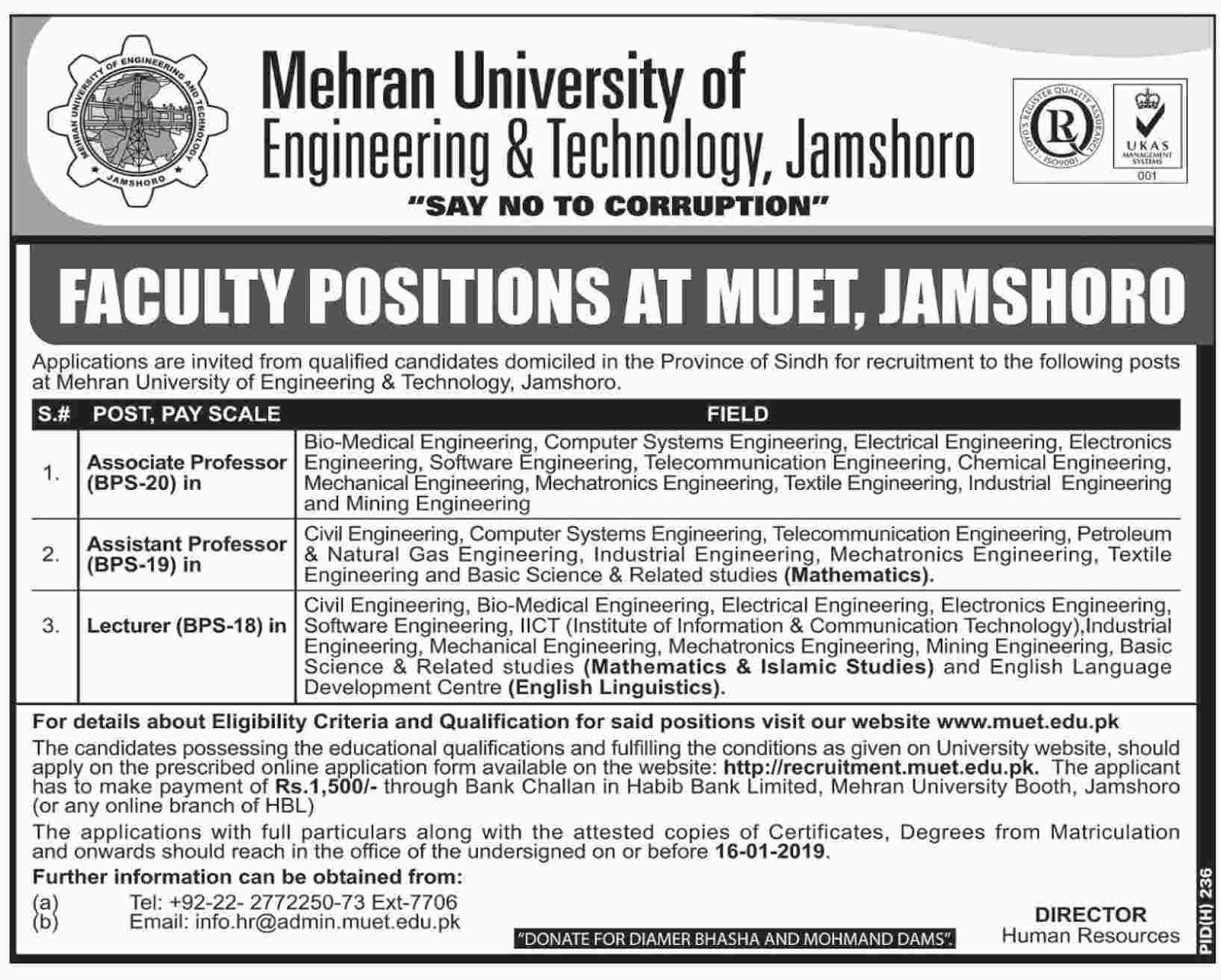 Latest Jobs in Mehran University of Engineering and Technology