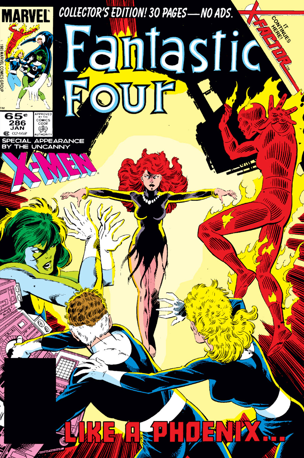 Jean Grey in tattered dress rising in front of Fantastic Four, with title at bottom 'Like a Phoenix...