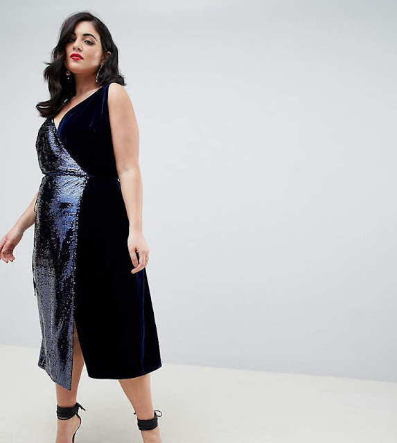 ASOS DESIGN Curve sequin and velvet cami wrap midi dress