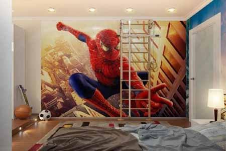 wallpaper dinding 3d kamar anak laki laki motif super hero