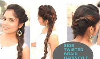 Fancy Side Twisted Braid Hairstyle For Ethnic wear   Indian festive hairstyle
