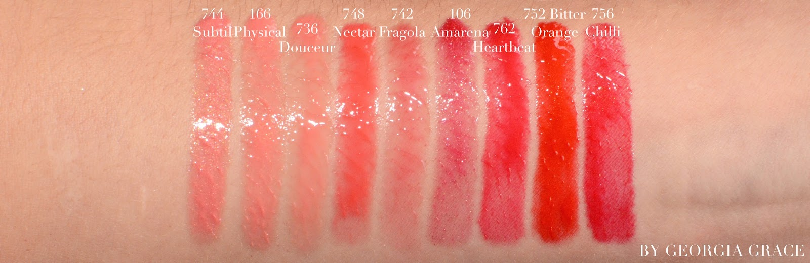 chanel rouge coco gloss swatches review photos comparison subtil physical douceur nectar fragola amarena heartbeat bitter orange chilli