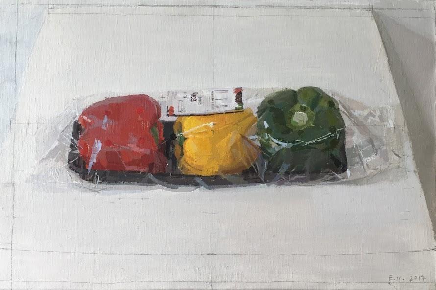 Tres pimientos pintura de Eduardo Millán