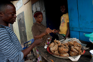 Fresh fried fish for sale in Ghana
