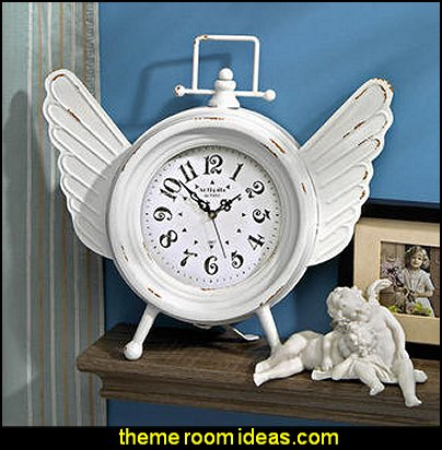 Heavens Halo Metal Angel Wings Clock  mythology theme bedrooms - greek theme room - roman theme rooms - angelic heavenly realm theme decorating ideas - Greek Mythology Decorations - heavenly wall murals - asngel wings decor - angel theme bedrooms