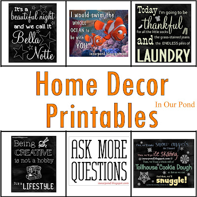FREE Home Decor Printables from In Our Pond