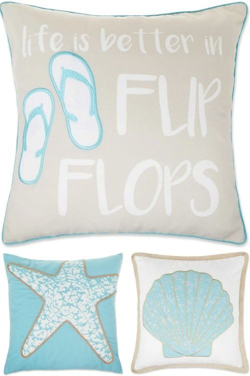 Coastal Beach Throw Pillow Covers