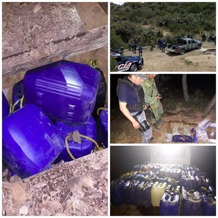 Elementos de la Fuerza Especial en Hidalgo localizan más de 2 mil litros de huachicol en fosas clandestinas.