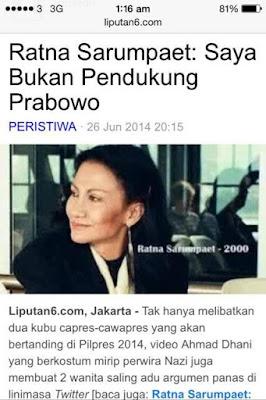 Rayna Sarumpaet Mengaku Bukan Pendukung Prabowo