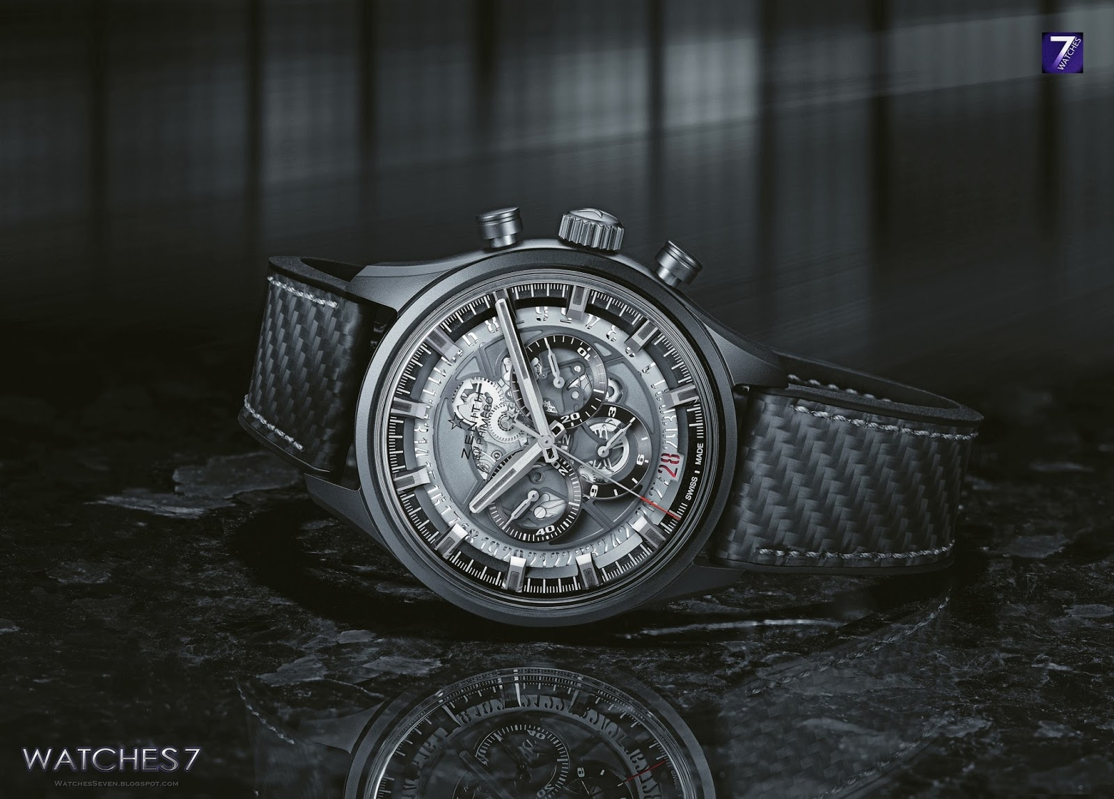 watches 7 zenith el primero skeleton black ceramic. Black Bedroom Furniture Sets. Home Design Ideas