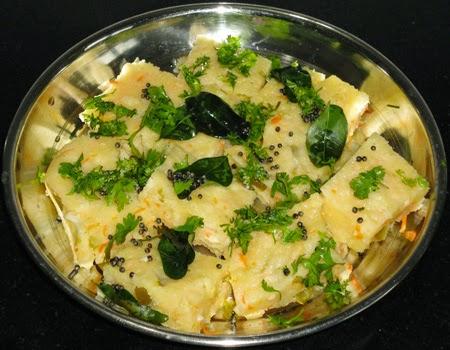 temper the dhokla and garnish with cilantro