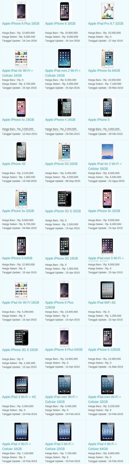Daftar Harga Hp Terbaru Apple Juli 2016