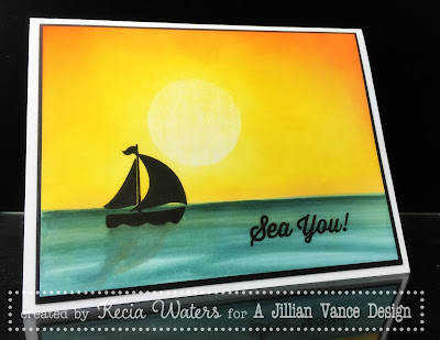 AJVD, Kecia Waters, Copic markers, sponging, sailboat, sunset