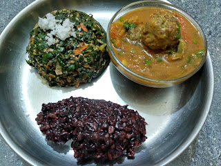 Kavuni rice, Ponnaanganni greens Carrot Cabbage Beans poriyal,  Pigeon pea lentil veg ball curry