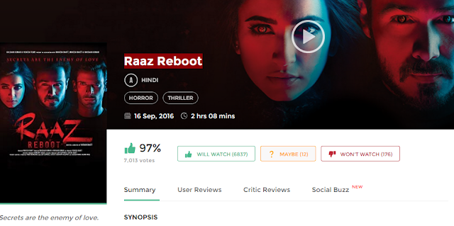 Raaz Reboot (2016) Bollywood Movie in HD 720p avi mp4 3gp hq free Download