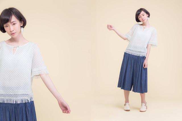 落羽松之歌雙層流蘇造型短袖上衣