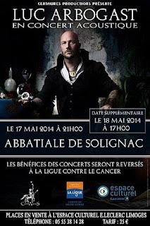 Affiche du concert de Luc Arbogast à l'Abbatiale de Solignac