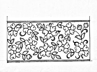 Hand embroidery flower border design drawing and sketch on tracing paper