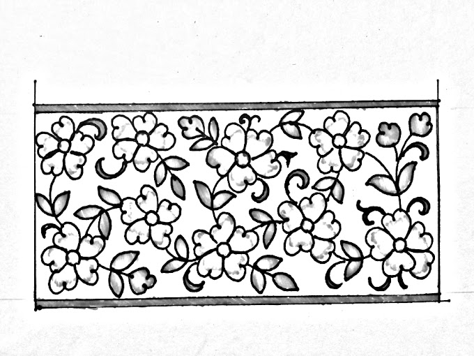 Hand embroidery design -01 | How to draw an easy border design for hand embroidery