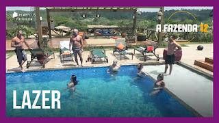 A Fazenda 12 - Peões fazem competição na piscina - Lidi e Juliano conversam