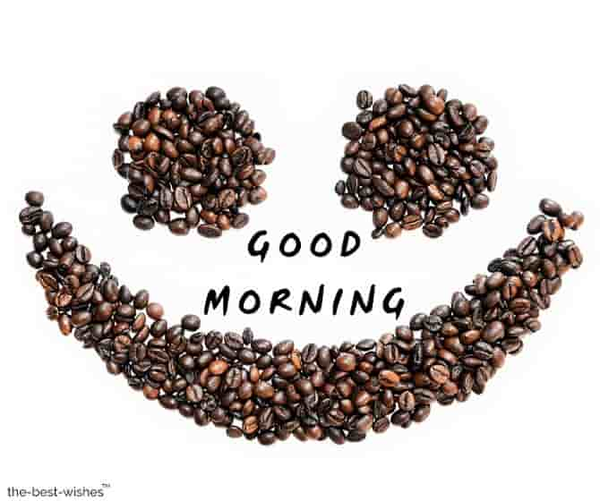 good morning with a coffee beans smiley background