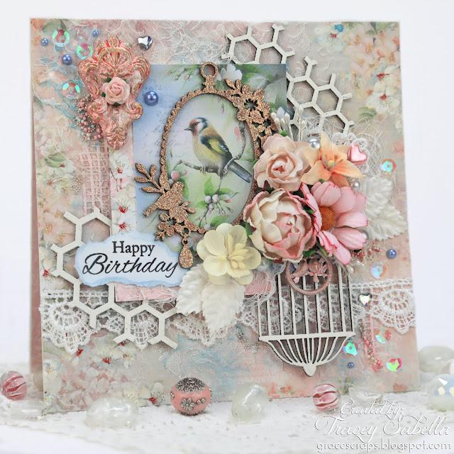 Floral Bird Card by Tracey Sabella for ScrapBerry's ~ https://bit.ly/2IJfjYv - #scrapBerrys #birdcard #handmadecard #chipboard #mixedmedia #mixedmediacard #shabbychic #shabbychiccard #finnabair #primamarketing #mixedmedia #mixedmediacard #shabbychic #shabbychiccard #lindysstampgang #usartquestprills #helmar #bluefernstudios #wildorchidcrafts #helmar