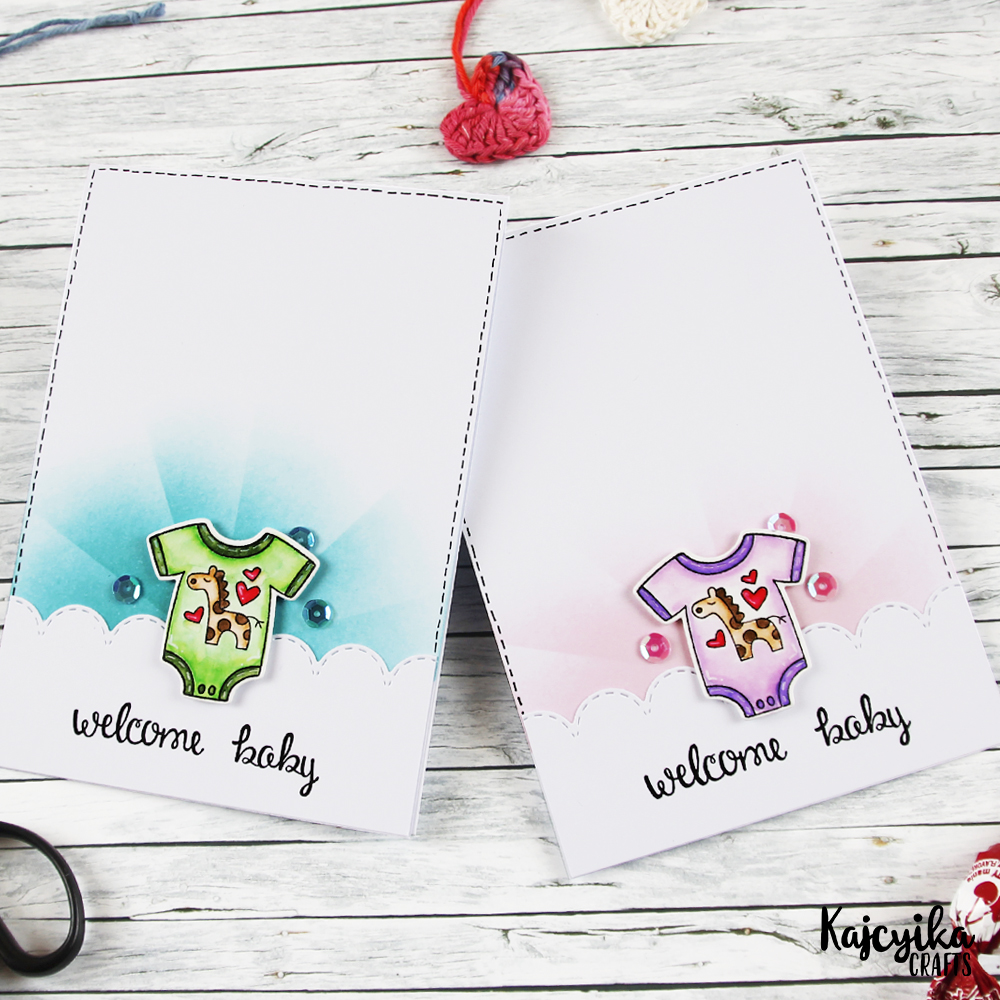 Welcome Baby cards by April Guest Designer Kaja Vezenšek | Loveable Laundry Stamp set by Newton's Nook Designs #newtonsnook