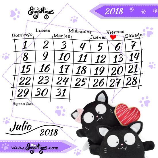 Mes De Julio Calendario.Guyuminos Calendario Mes De Julio 2018 Al Estilo Guyuminos