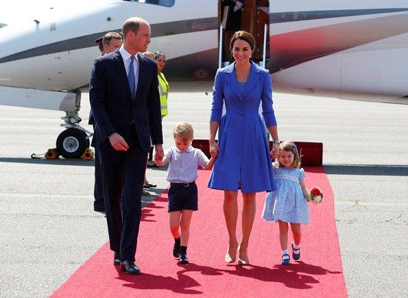 Angela Merkel. Kate Middleton wore a blue dress by Catherine Walker, Kiki McDonough Diamond Earrings, Gianvito Rossi Suede Pumps