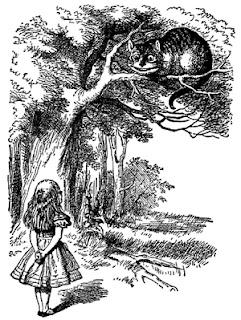 [Mynd: Kötturinn og Lísa ræða saman.]