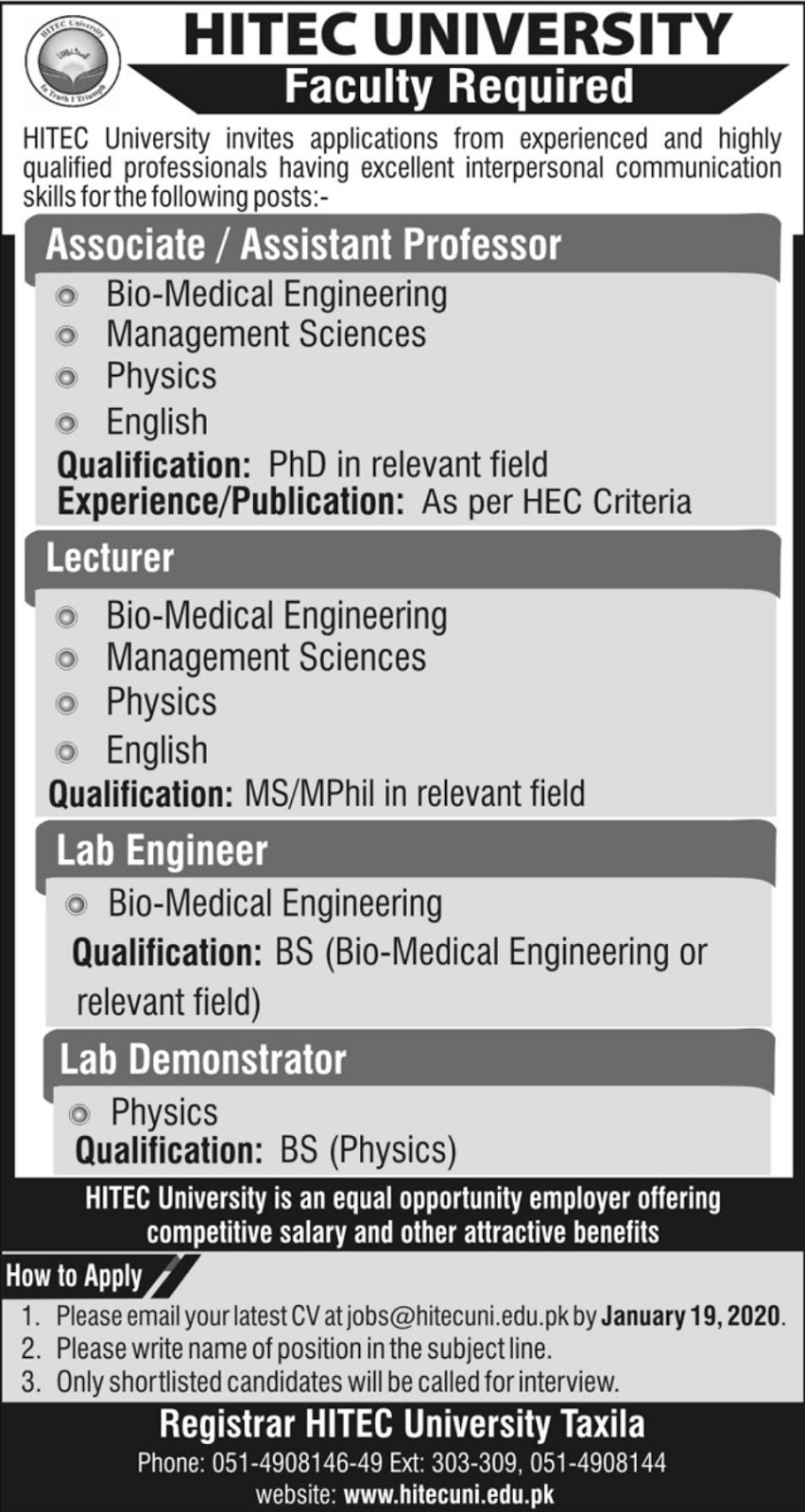 HITEC University Taxila Jobs 2020 Advertisement