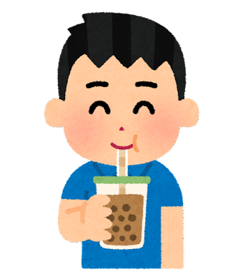 タピオカミルクティーを飲む人のイラスト(男性)