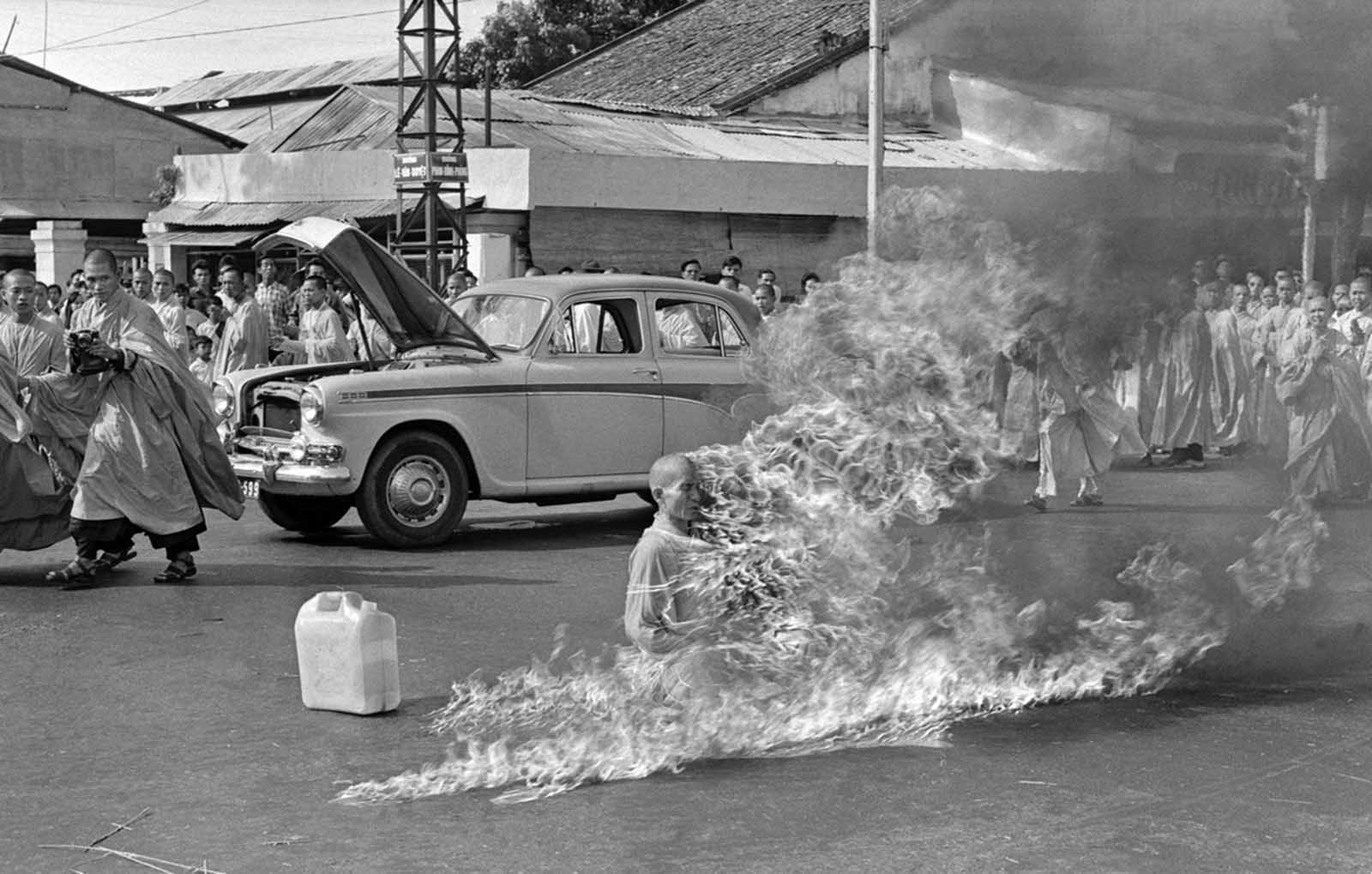 Thich Quang Duc, a Buddhist monk, burns himself to death on a Saigon street on June 11, 1963, to protest alleged persecution of Buddhists by the South Vietnamese government. President Ngo Dình Diem, part of the Catholic minority, had adopted policies that discriminated against Buddhists and gave high favor to Catholics.